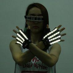 Gant de Demi Doigt Bande Lumineuse LED Rechargeable