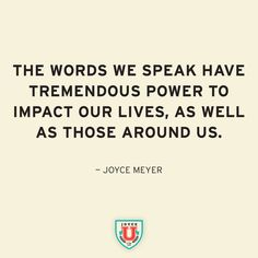 So speak positive