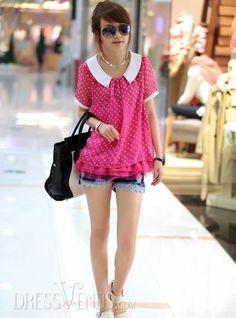 US$11.99 New Arrival Chiffon Summer Korean Blouse . #Blouses #Blouse #Summer #Chiffon