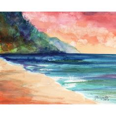 sunset art, sunrise print, kauai beach, 8 x 10 giclee prints, hawaii... ($26) ❤ liked on Polyvore featuring home, home decor, wall art, beach paintings, beach home accessories, beach wall art, sunset painting and hawaiian paintings