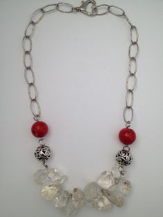 Chunky coral and rock crystal gemstone statement necklace - Michela Rae