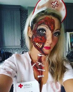 Halloween make up nurse zombie