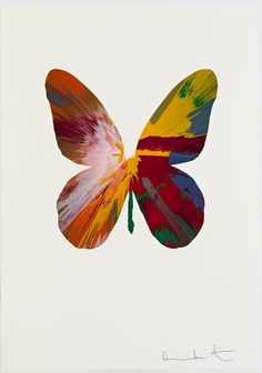 DAMIEN HIRST. Dancing Butterfly 4. Spin painting on paper. Courtesy Paul Stolper Gallery London