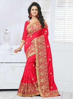 Trendy Red and Gold Crepe Silk Festive Embroidered Saree New Saree Designs, Blouse Designs, Red Saree, Sari, Party Sarees, Latest Sarees, Art Silk Sarees, Online Collections, Beautiful Saree