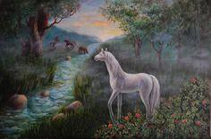 Белая лошадь. Холст, масло.