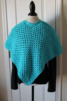 Girls  Shawl / Poncho  8 to 12 years  Turquoise by SnugableTouches, $15.00