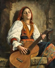 Leopold Bara Gitarrenspielerin - The Largest Art reproductions Center In Our website. Low Wholesale Prices Great Pricing Quality Hand paintings for saleLeopold Bara Guitar Painting, Guitar Art, Guitar Room, Violin, Amber Tree, New Inventions, Band Photos, Music Images, Classical Art