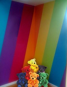 rainbow theme bedrooms - rainbow bedroom decorating ideas - rainbow decor idea for wall in Dev's room Rainbow Bedding, Rainbow Nursery Decor, Rainbow Bedroom, Rainbow House, Rainbow Theme, Rainbow Dash, Rainbow Colors, Bedroom Themes, Girls Bedroom