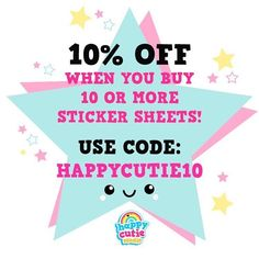 Use code 'HAPPYCUTIE10' to receive 10% off when your order 10 or more sticker sheets! #happycutiestudio #supporthandmade #etsy #sticker #stationery #illustration #cute #design #vector #kawaii #planner #planneraddict #plannerlove #plannergirl #plannerstickers #plannercommunity #plannerjunkie #plannergeek #happyplanner #filofax #erincondren #lovetoplan #stickeraddict #plannernerd #silhouettecameo #eclp by happycutiestudio