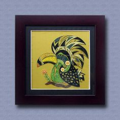 Quilling paper picture Indian chief parrot 3D