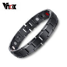Vnox Health Magnetic Bracelet Men Jewelry Black Stainless Steel Hand Bracelets Bijoux Adjustable Size