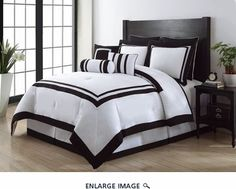 12 Piece King Hotel Black and White Bed in a Bag Set $125