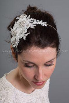 Light Ivory Lace Hair Clip Bridal Hair Comb by brendasbridalveils