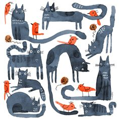 Join the fun on the Daily Creating Grouo. Link bio to find the group. Love Illustration, Character Illustration, Lino Art, Cat Drawing, Watercolor Drawing, Collage Techniques, Cat Art Print, Naive Art, Cultura Pop