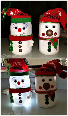 DIY Snowman Mason Jar Craft For Kids (Light Decoration) #Christmas art project #Winter craft #Christmas decoration | http://www.sassydealz.com/2013/12/diy-snowman-mason-jar-craft-for-kids.html