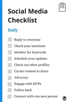 FREE daily, weekly and monthly social media checklists.
