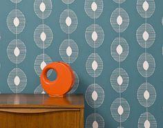 Midbec Miss print 2 tapet vit blå turkos grafisk retro mönster 50-tal 60-tal