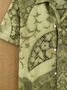 Olive Lace Shirt - XS/S – BODE New York Alexander Mcqueen Scarf, Olive Green, Fashion Textiles, Men Sweater, York, Lace, Sleeves, Sweaters, Jackets