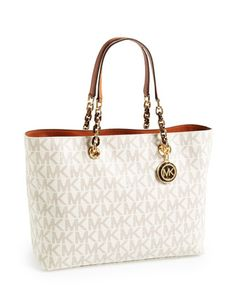 MICHAEL MICHAEL KORS MK Large Signature Print Saffiano Leather Cynthia Sholder Tote Shopper