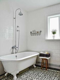 Traditional Full Bathroom With Flush Flush Light Penny Tile Floors Wainscotting Clawfoot Console Sink Glass Panel Bathroom Pinterest Acrylics