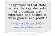 Alignment is that state where the key elements of a business are integrated and aligned to drive growth and profit.