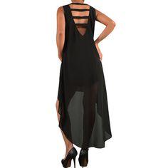 Ladder Back Chiffon High Low Dress