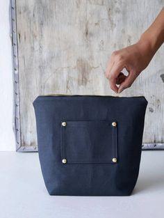 Dark gray mens toiletry bag. Large cotton canvas makeup bag. Dopp kit storage case. Modern boyfriend gift. Zipper pouch. Fashion accessories. Handmade Etsy