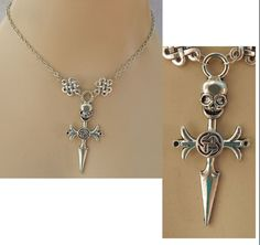 Silver Skull Dagger Pendant Necklace Jewelry Handmade NEW Adjustable Fashion #Handmade #Pendant