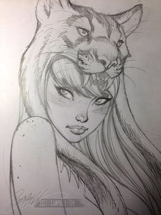 Pencil Art Drawings, Art Drawings Sketches, Cool Drawings, Fantasy Drawings, Tattoo Sketch Art, Girl Face Drawing, Drawing Faces, Woman Drawing, Tiger Drawing