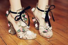 YSL cage sandals with flowers <3