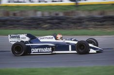 Brazilian racing driver Nelson Piquet drives the #1 MRD International Brabham BT53 BMW S4t to finish in 7th place in the 1984 British Grand Prix at Brands Hatch Circuit in Kent, England on 22nd July 1984.