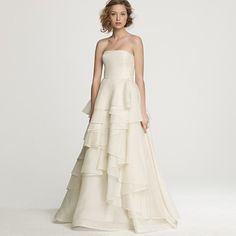 J. Crew   Emma gown [satin-faced silk organza confection with interlocking ruffles, A-line skirt, ivory]