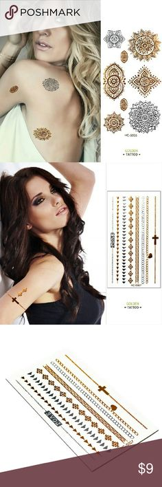 ✨Bundle✨ Boho Shimmering Flash Tattoos 2  packages of shimmering temporary tattoos. New trendy style!!  Hello dear!  Take a look at what I have for sale and don't be afraid to make an offer  Bundle your items for a 10% discount  New items arrive daily so be sure to check back soon Make sure to look out for my buy 2 get one free deals   Happy shopping  Other