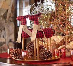 Fabric Reindeer using buffalo black and red fabric looks fabulous. Pottery Barn Christmas, Country Christmas, Christmas Crafts, Christmas Ornaments, Christmas 2016, Tartan Christmas, Cabin Christmas, Nordic Christmas, Christmas Items