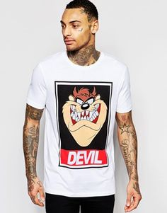T-Shirt With Taz Devil Print In Relaxed Skater Fit