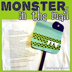 Little Family Fun: Monster in the Mail. Kids would love this. Could we have all kids bring an addresses stamped envelope. For grandparents etc? Worst case scenario kids would have to send to themselves and I would have to pay shipping. Talk with teacher