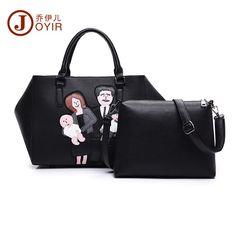 8bc04a2de7a JOYIR Famous Brand Women Tote Set Bags Female black Shoulder Bag Clutch  family big Handbag Pu
