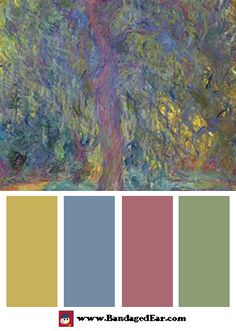 Color Palette: Weeping Willow Art Print by Claude Monet