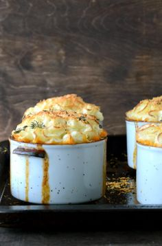 Individual Shepherds Pie. This recipe looks really lean and uses Greek yogurt and olive oil. Yum, I am so making this!