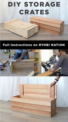 Love this DIY wood crate project! Ben Uyeda has a free tutorial for making these super stylish storage boxes.