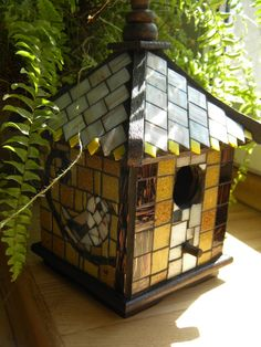 Bird house, treehouse, mosaic decorated, decoration for garden, white, yellow, brown, vitregeous mosaic tiles