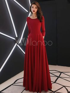 Burgundy Evening Dresses Long Sleeve Prom Dress A Line Formal Gowns With Pockets - Prom Dresses Design Burgundy Evening Dress, Long Sleeve Evening Dresses, Prom Dresses Long With Sleeves, Burgundy Dress, Sleeve Dresses, Evening Gown With Sleeves, Long Sleeved Dress, Dresses Dresses, Long Dresses