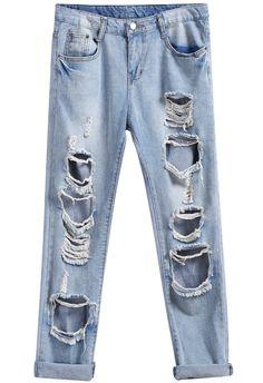 Blue Pockets Ripped Denim Pant 14.99