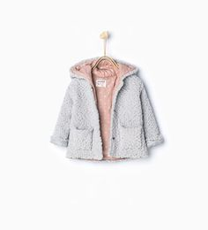 Image 1 of Knitted three quarter length coat with hood from Zara