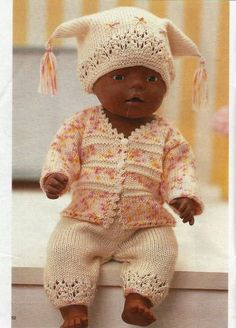 New baby born pattern doll clothes Ideas Knitting Dolls Clothes, Knitted Dolls, Doll Clothes Patterns, Clothing Patterns, Baby Knitting, Crochet Baby, Girl Dolls, Baby Dolls, Baby Born Kleidung