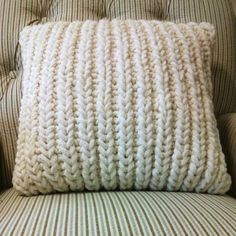 Free knitting pattern for a fisherman's rib cushion cover. Find more free knitting patterns on this website.