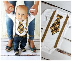 Baby Boy Tie and Suspenders Bodysuit. Tie by ChicCoutureBoutique, $19.00