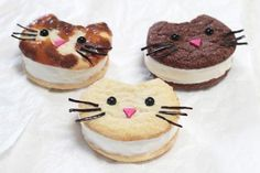 These are the cat's meow! Ice cream cat cookies