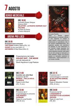Città di Nettuno. Programma del 7 agosto 2014 Italian Horror Fest