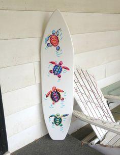 4 foot wood surfboard wall art with vinyl turtle appliques & handpainting headboard kids room decor